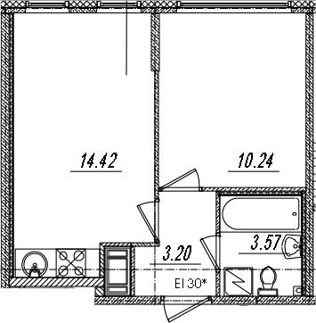 2-комнатная 31 м<sup>2</sup> на 14 этаже