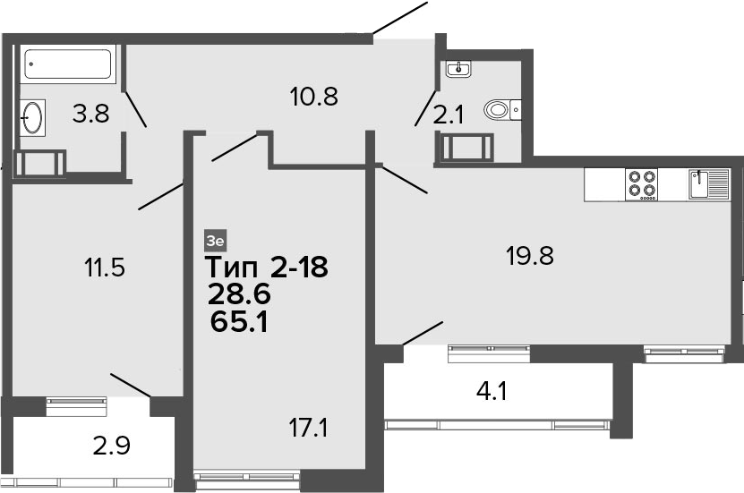 3-комнатная 72 м<sup>2</sup> на 15 этаже