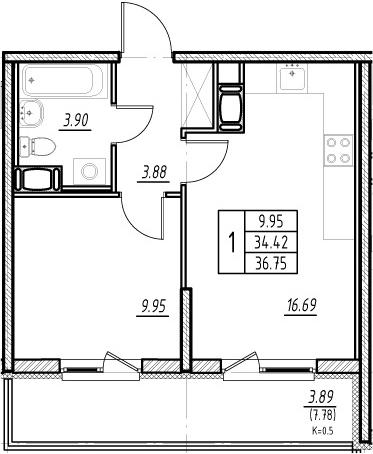 2-комнатная 42 м<sup>2</sup> на 6 этаже
