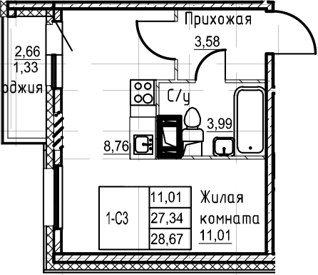 Студия 30 м<sup>2</sup> на 18 этаже