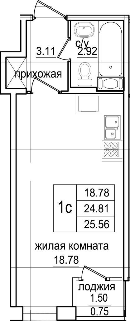 Студия 26 м<sup>2</sup> на 2 этаже