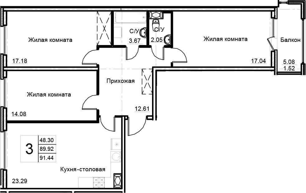 4-комнатная 94 м<sup>2</sup> на 5 этаже