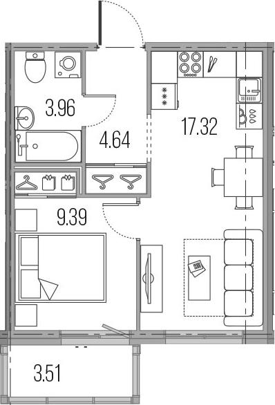 2-к.кв (евро), 38.82 м²