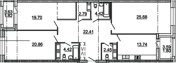 3-комнатная 123 м<sup>2</sup> на 14 этаже