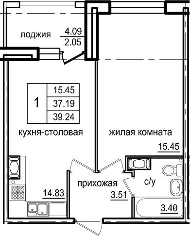 1-комнатная 41 м<sup>2</sup> на 6 этаже