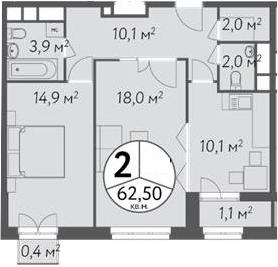 2-к.кв, 64.53 м²