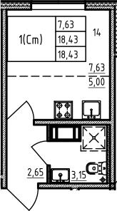 Студия 18 м<sup>2</sup> на 11 этаже