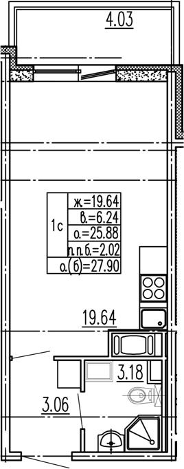 Студия 29 м<sup>2</sup> на 3 этаже