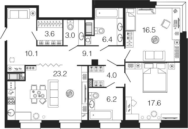 3-комнатная 99 м<sup>2</sup> на 5 этаже