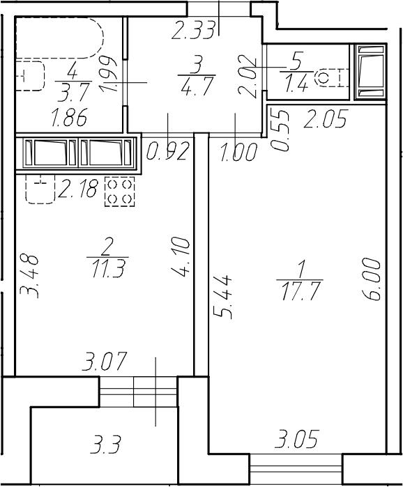 1-комнатная 42 м<sup>2</sup> на 11 этаже