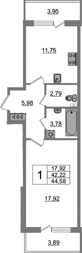 1-комнатная 50 м<sup>2</sup> на 1 этаже