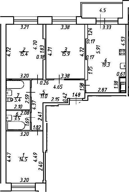 4-комнатная 89 м<sup>2</sup> на 2 этаже