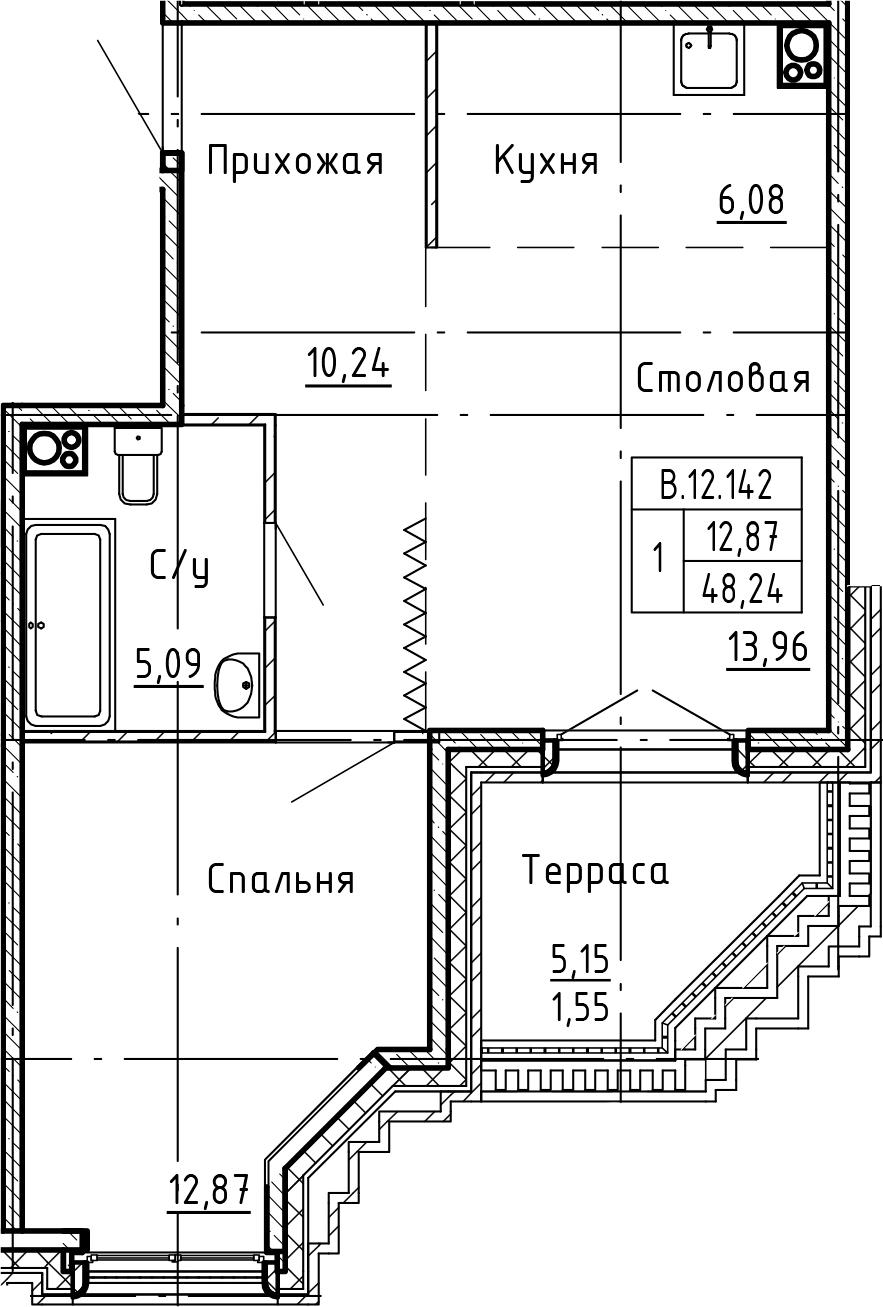2-комнатная 53 м<sup>2</sup> на 12 этаже