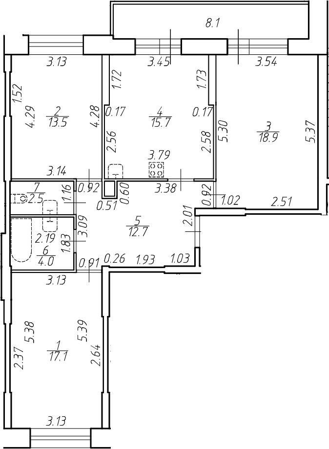 4-комнатная 92 м<sup>2</sup> на 2 этаже