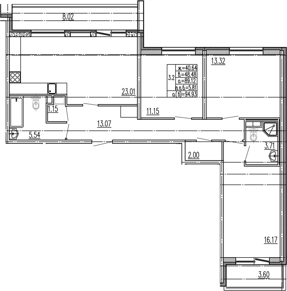 4-комнатная 100 м<sup>2</sup> на 1 этаже