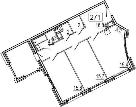 3-комнатная 85 м<sup>2</sup> на 11 этаже