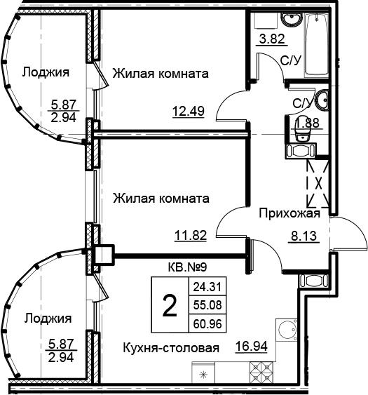 3-комнатная 66 м<sup>2</sup> на 4 этаже