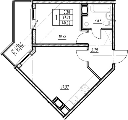 2-комнатная 42 м<sup>2</sup> на 10 этаже