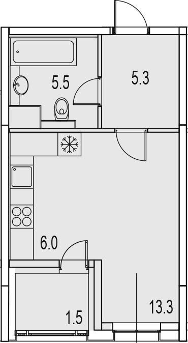 Студия 33 м<sup>2</sup> на 12 этаже