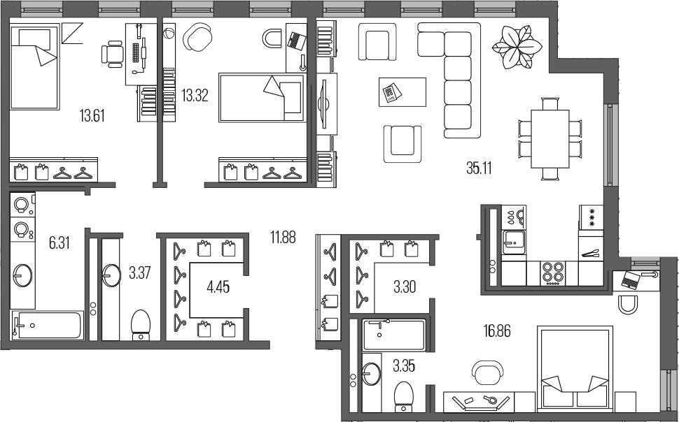 4-комнатная 111 м<sup>2</sup> на 2 этаже