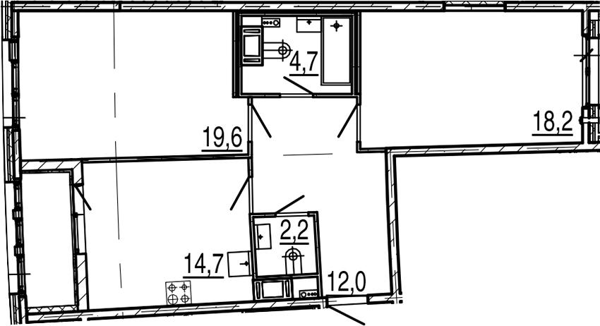 2-комнатная 75 м<sup>2</sup> на 6 этаже