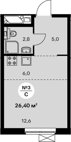 Студия 26 м<sup>2</sup> на 22 этаже