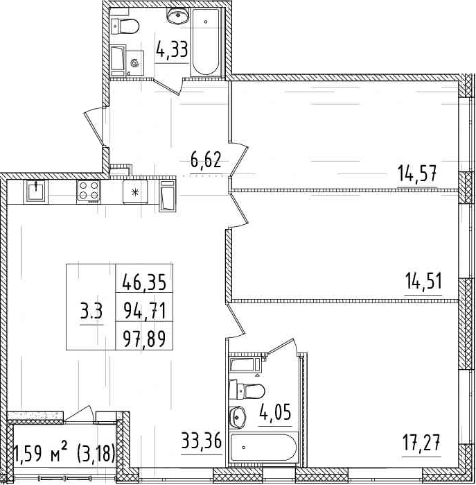 4-комнатная 97 м<sup>2</sup> на 3 этаже