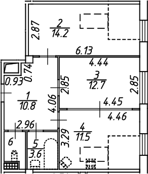 2-комнатная 55 м<sup>2</sup> на 7 этаже