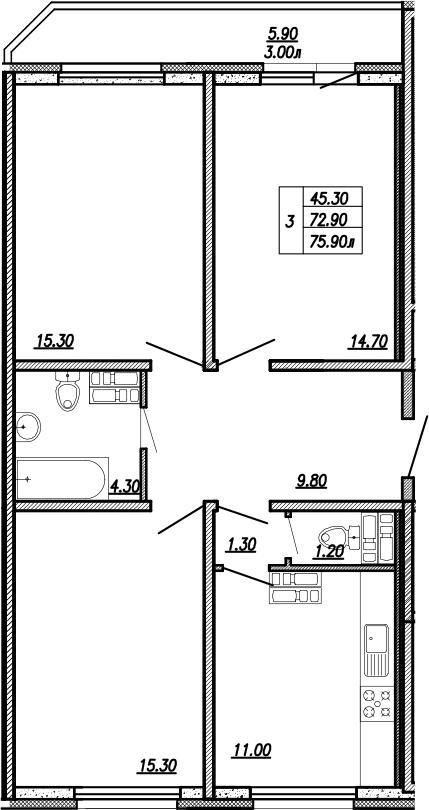 3-к.кв, 78.9 м²