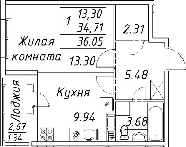 1-комнатная 37 м<sup>2</sup> на 7 этаже