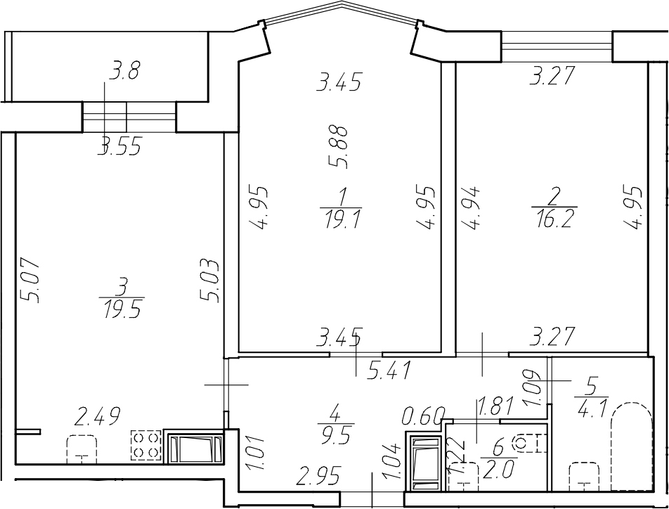 3-комнатная 74 м<sup>2</sup> на 8 этаже
