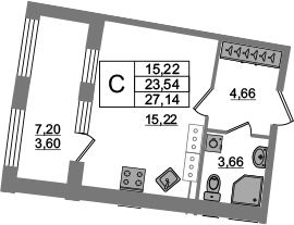 Студия 30 м<sup>2</sup> на 22 этаже