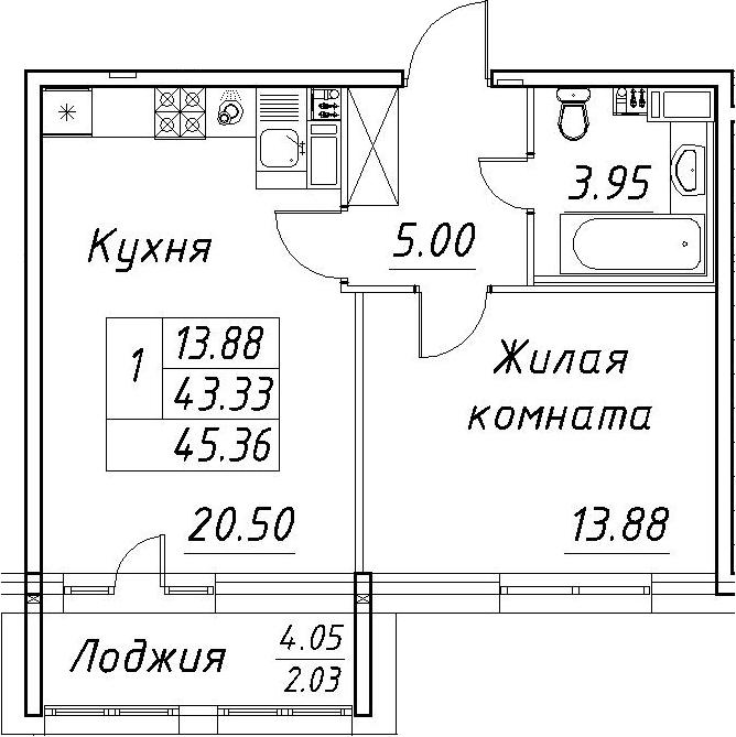 2-комнатная 47 м<sup>2</sup> на 5 этаже