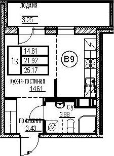 Студия, 28.42 м²