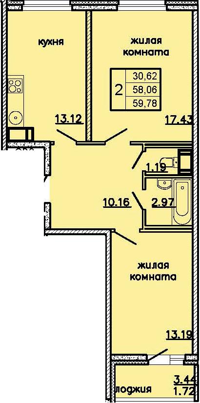 2-комнатная 61 м<sup>2</sup> на 16 этаже