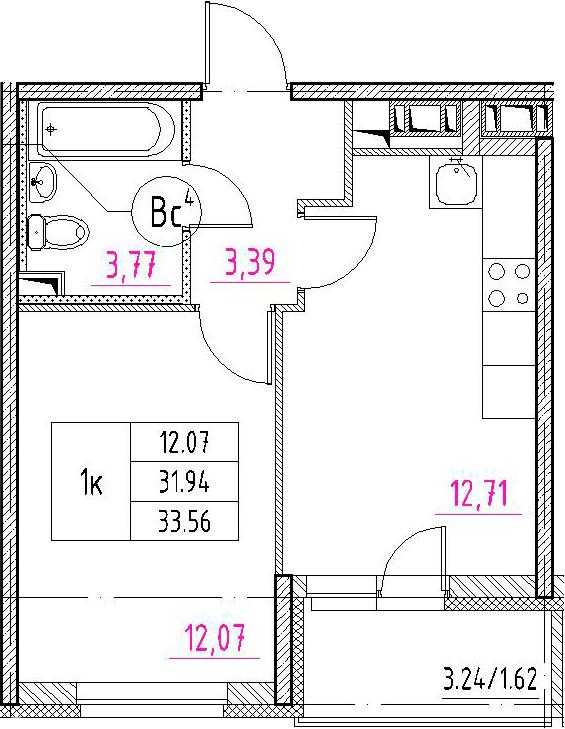 1-к.кв, 35.18 м²