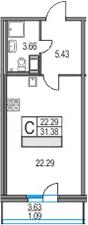 Студия 35 м<sup>2</sup> на 19 этаже