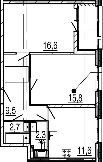 2-комнатная 62 м<sup>2</sup> на 4 этаже