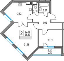 2-комнатная 62 м<sup>2</sup> на 6 этаже