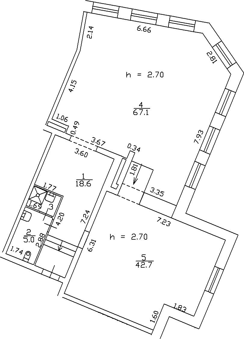 1-комнатная 135 м<sup>2</sup> на 2 этаже