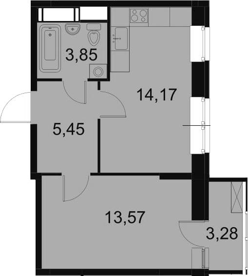 2-к.кв (евро), 40.32 м²