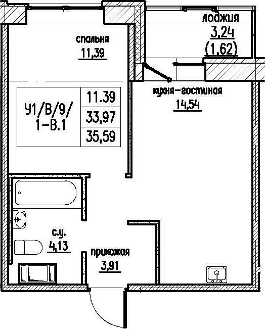 2-комнатная 37 м<sup>2</sup> на 9 этаже