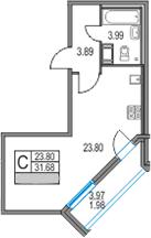 Студия 35 м<sup>2</sup> на 24 этаже
