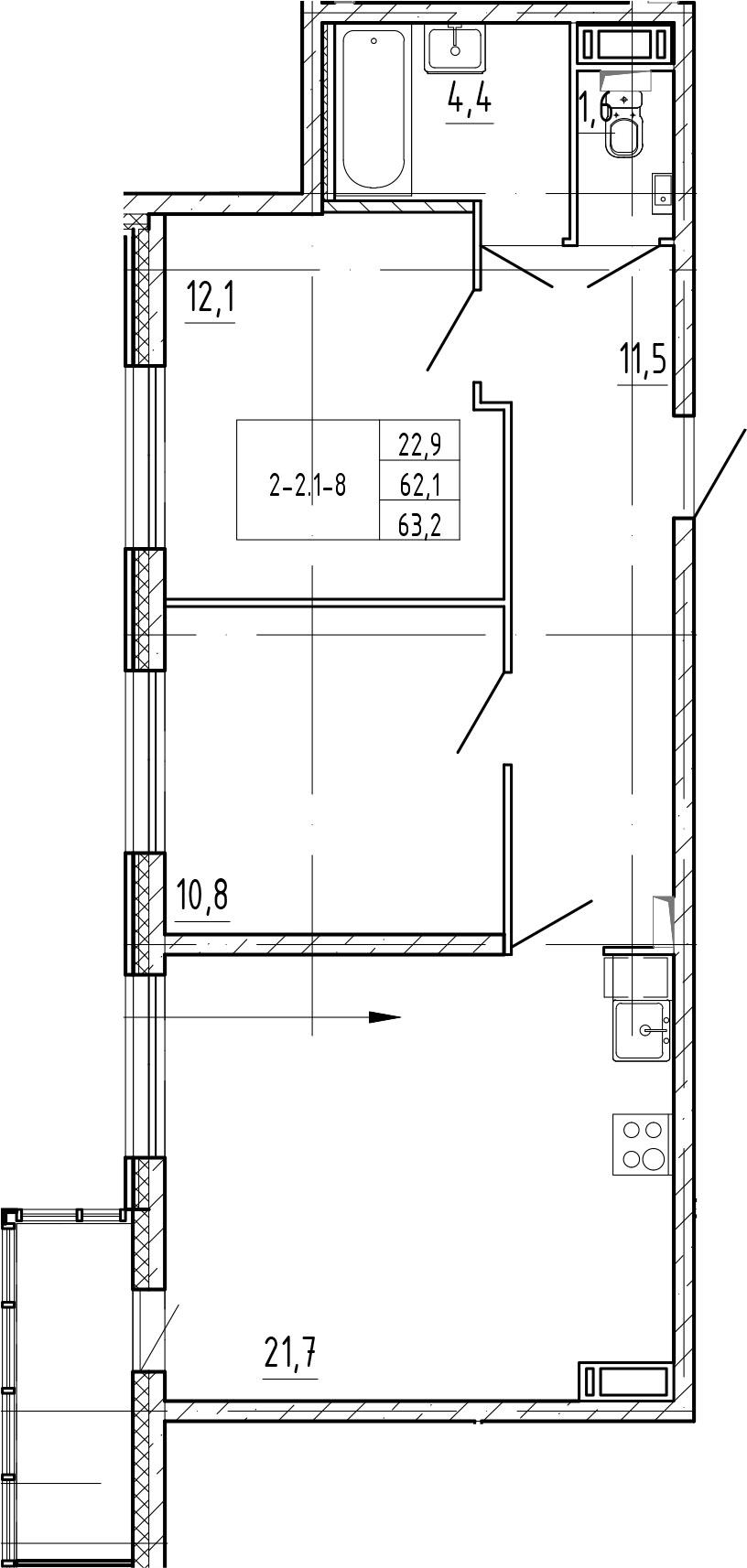 3-к.кв (евро), 65.77 м²
