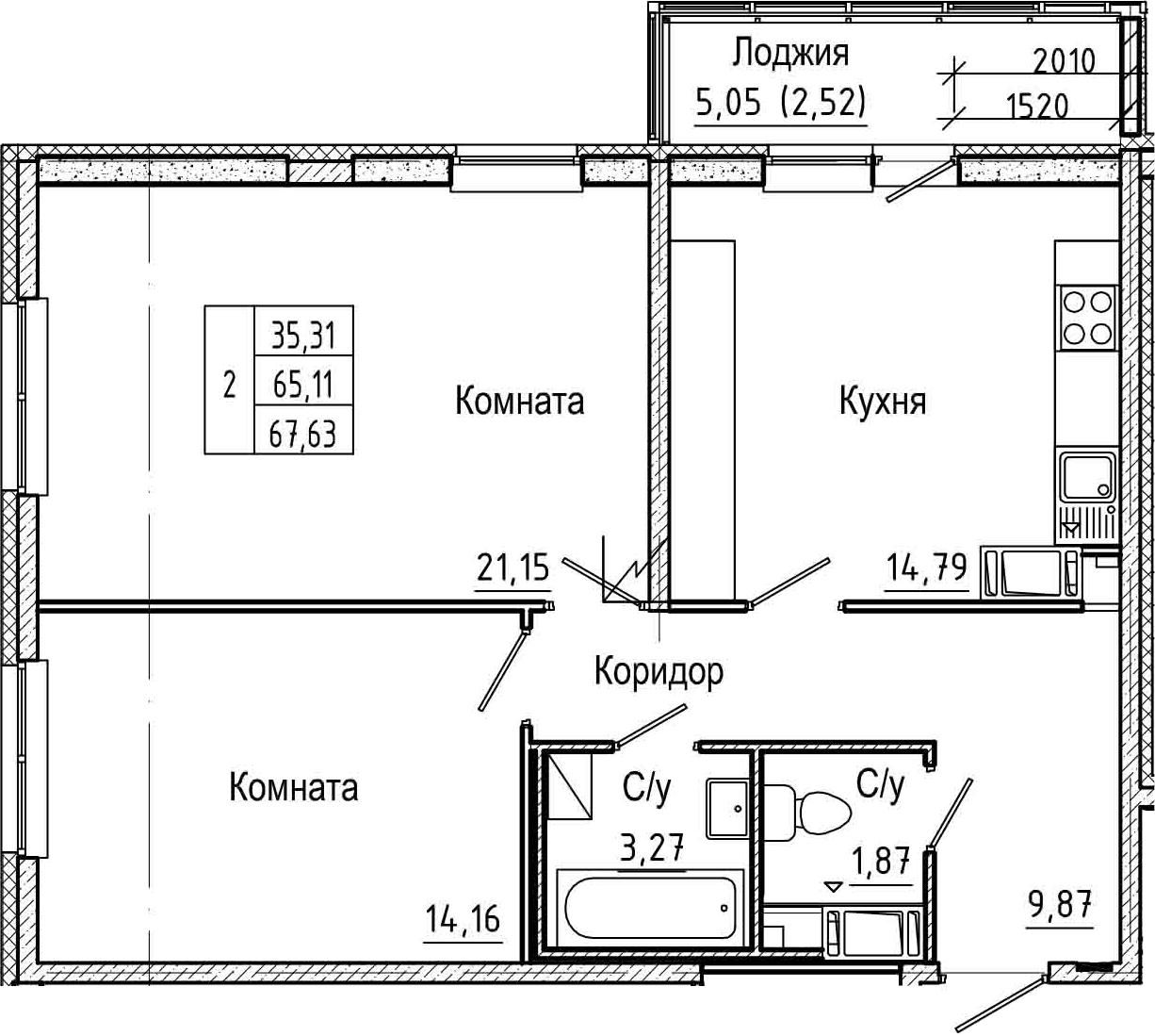 2-комнатная 70 м<sup>2</sup> на 9 этаже