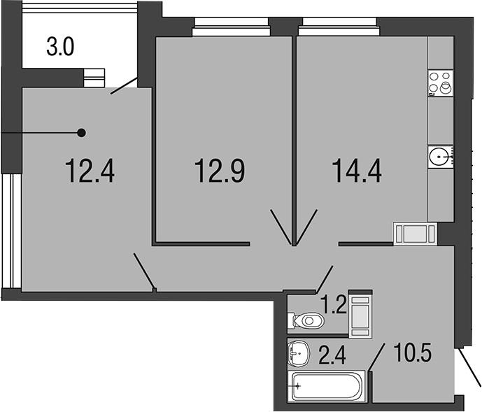 2-комнатная 56 м<sup>2</sup> на 14 этаже