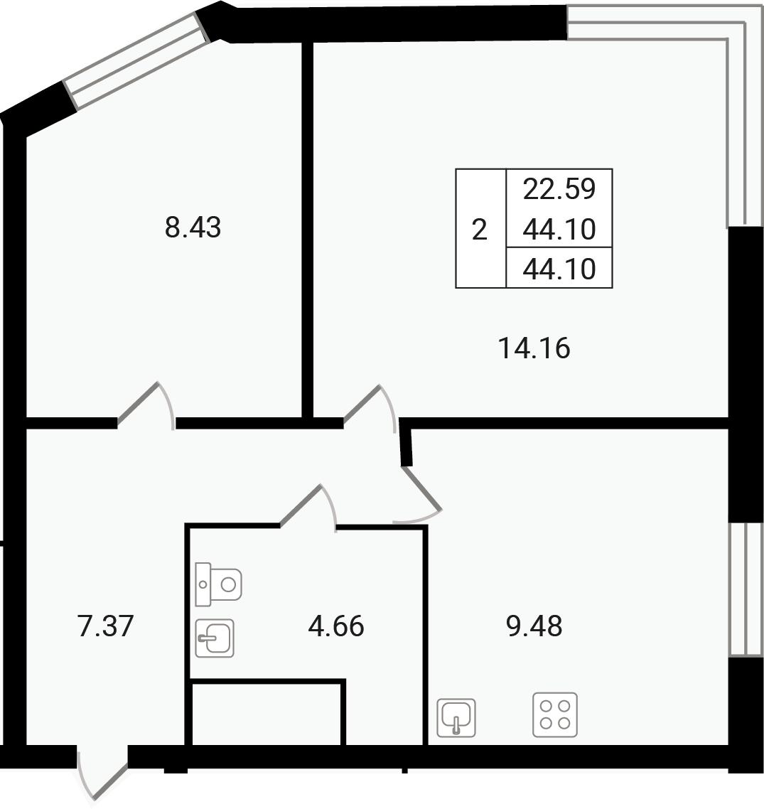 2-к.кв, 44.1 м²