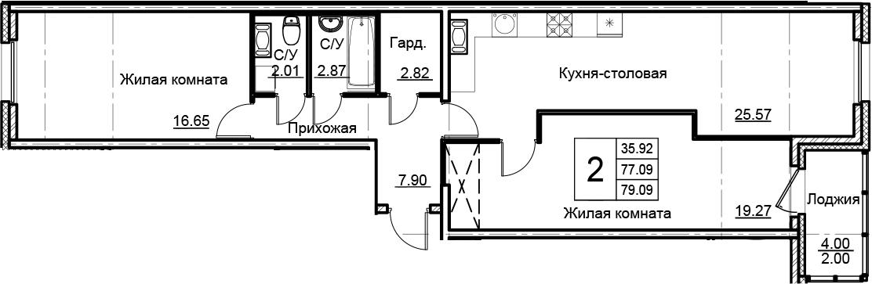 3-комнатная 81 м<sup>2</sup> на 5 этаже