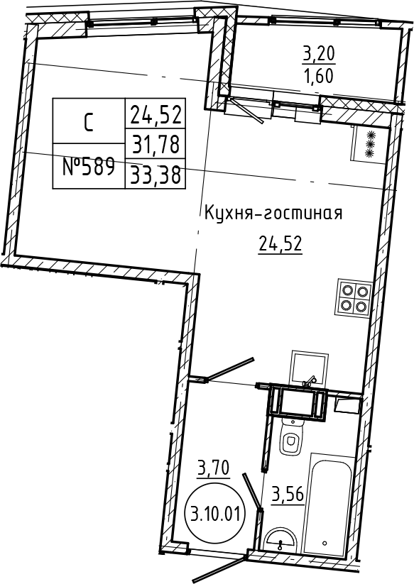 Студия 34 м<sup>2</sup> на 10 этаже