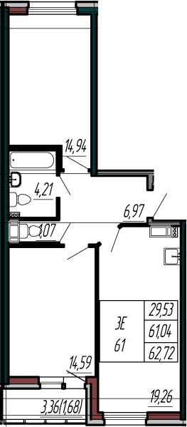 3-комнатная 64 м<sup>2</sup> на 3 этаже